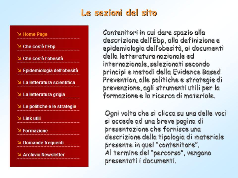 Le sezioni del sito