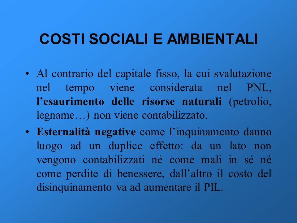 COSTI SOCIALI E AMBIENTALI