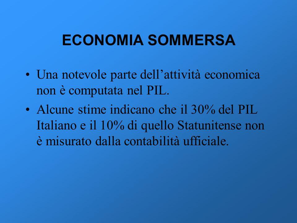 ECONOMIA SOMMERSA Una notevole parte dell'attività economica non è computata nel PIL.