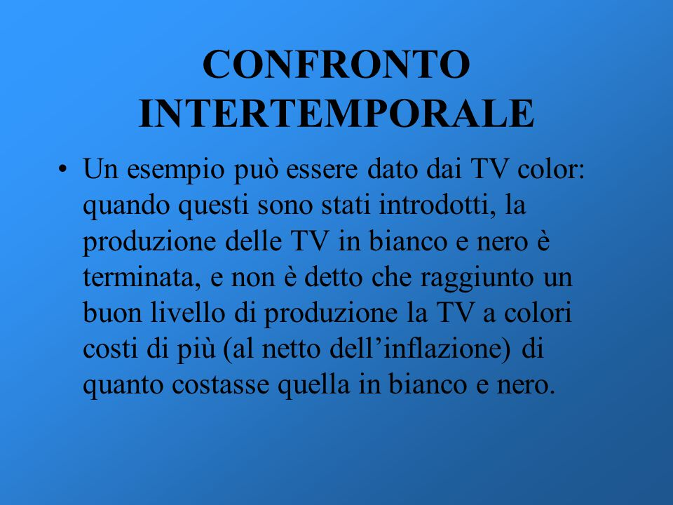 CONFRONTO INTERTEMPORALE