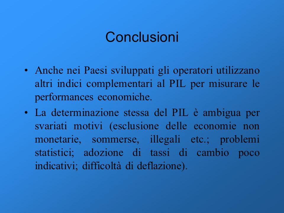 Conclusioni Anche nei Paesi sviluppati gli operatori utilizzano altri indici complementari al PIL per misurare le performances economiche.