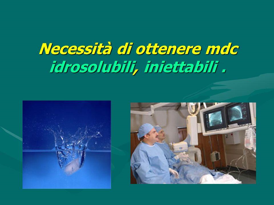 Necessità di ottenere mdc idrosolubili, iniettabili .