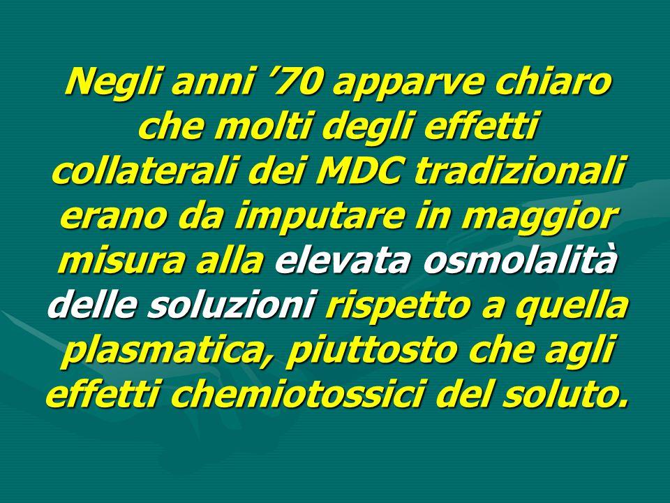 Negli anni '70 apparve chiaro che molti degli effetti collaterali dei MDC tradizionali erano da imputare in maggior misura alla elevata osmolalità delle soluzioni rispetto a quella plasmatica, piuttosto che agli effetti chemiotossici del soluto.