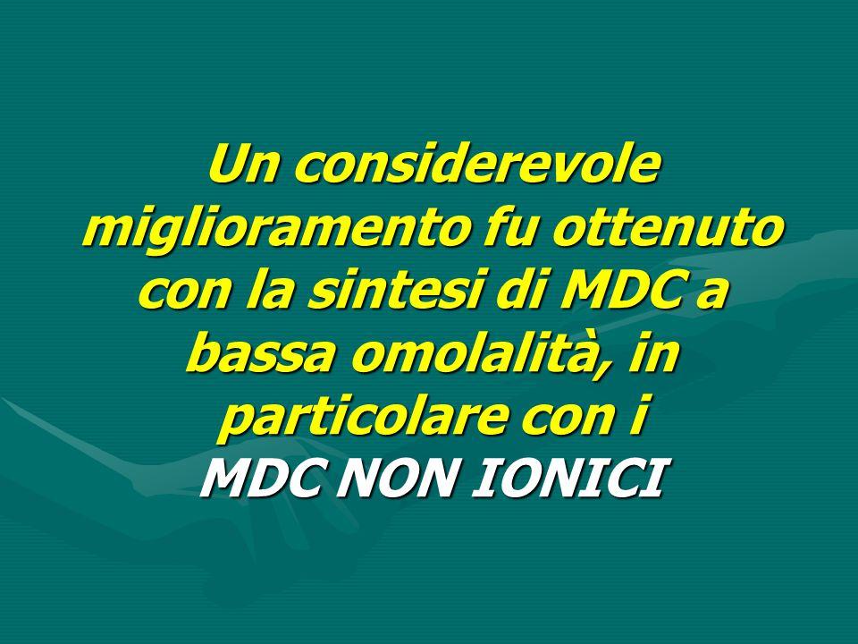 Un considerevole miglioramento fu ottenuto con la sintesi di MDC a bassa omolalità, in particolare con i MDC NON IONICI