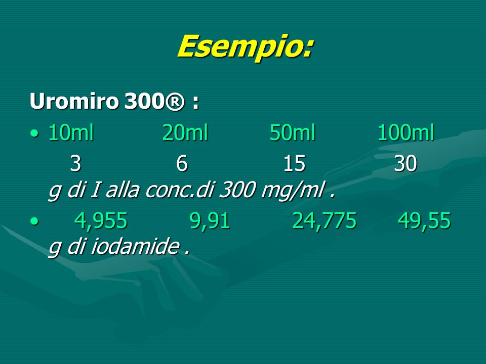 Esempio: Uromiro 300® : 10ml 20ml 50ml 100ml