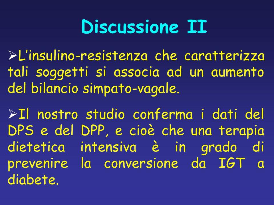 Discussione II L'insulino-resistenza che caratterizza tali soggetti si associa ad un aumento del bilancio simpato-vagale.