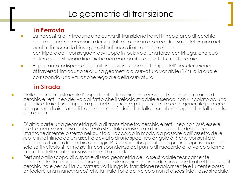 Le geometrie di transizione