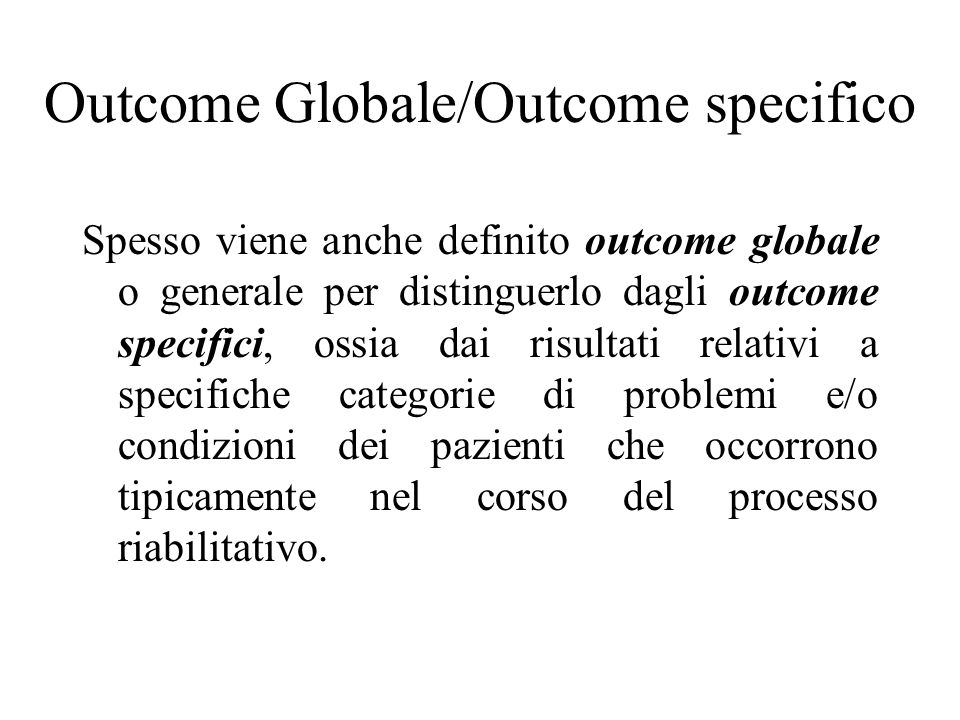 Outcome Globale/Outcome specifico