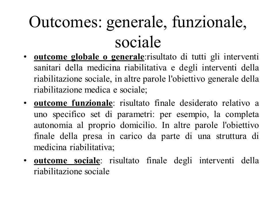 Outcomes: generale, funzionale, sociale