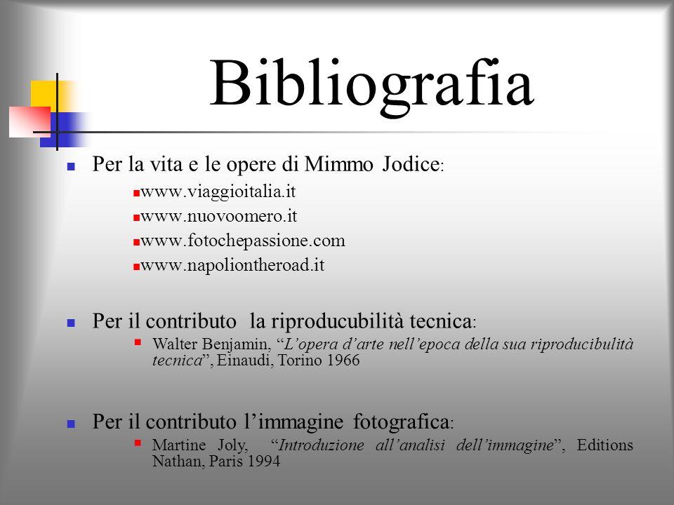 Bibliografia Per la vita e le opere di Mimmo Jodice: