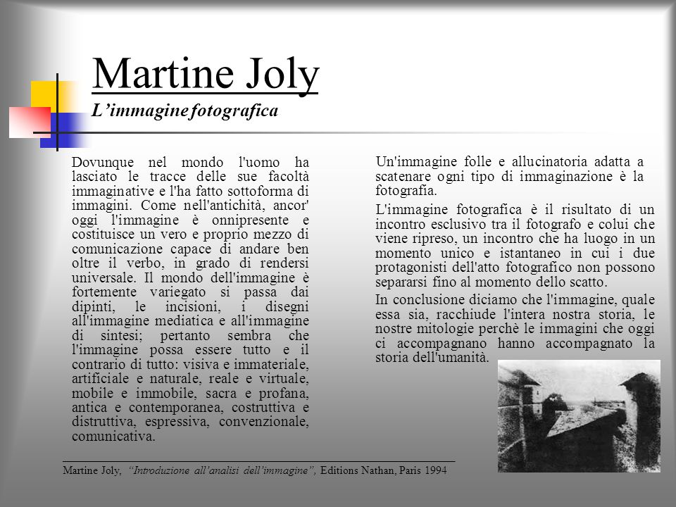 Martine Joly L'immagine fotografica