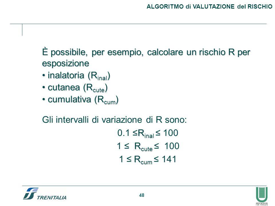 È possibile, per esempio, calcolare un rischio R per esposizione