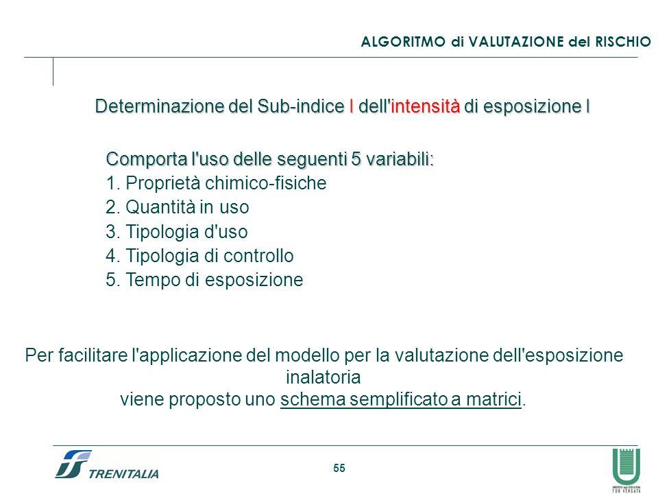 Determinazione del Sub-indice I dell intensità di esposizione I