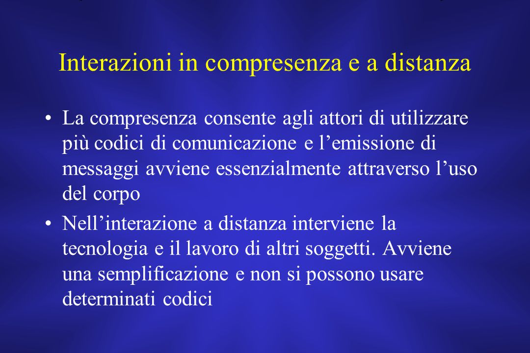 Interazioni in compresenza e a distanza
