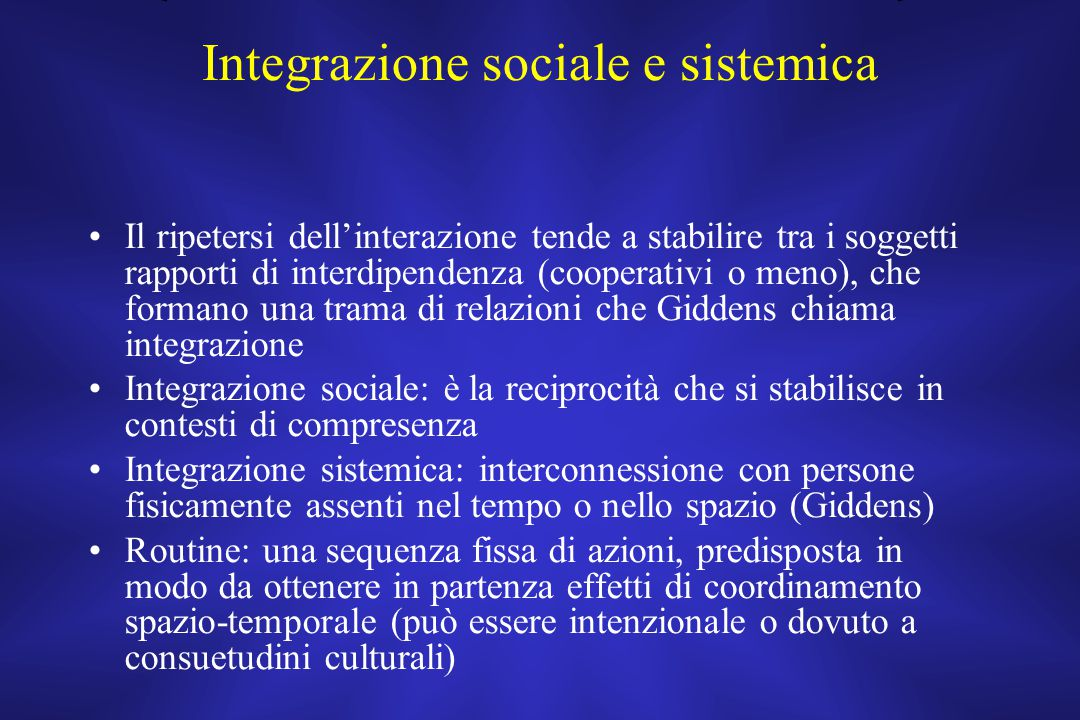 Integrazione sociale e sistemica