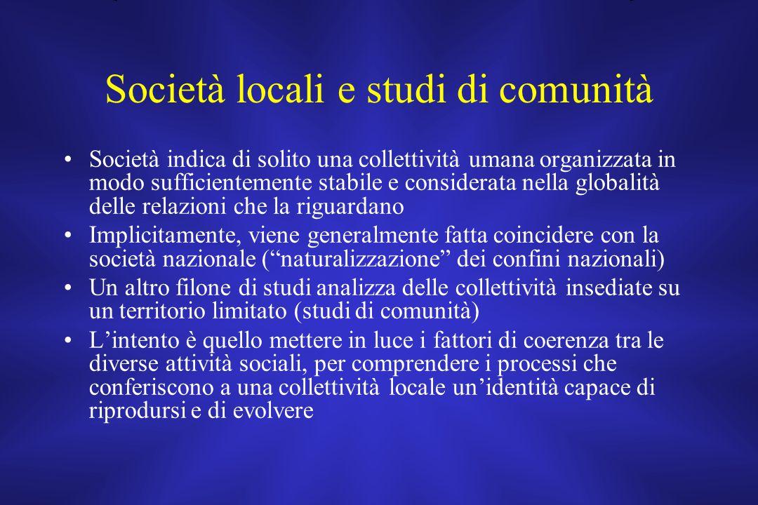 Società locali e studi di comunità
