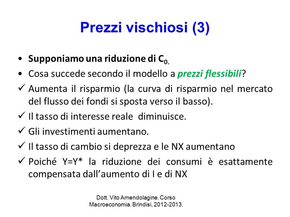 Dott. Vito Amendolagine. Corso Macroeconomia. Brindisi, 2012-2013.