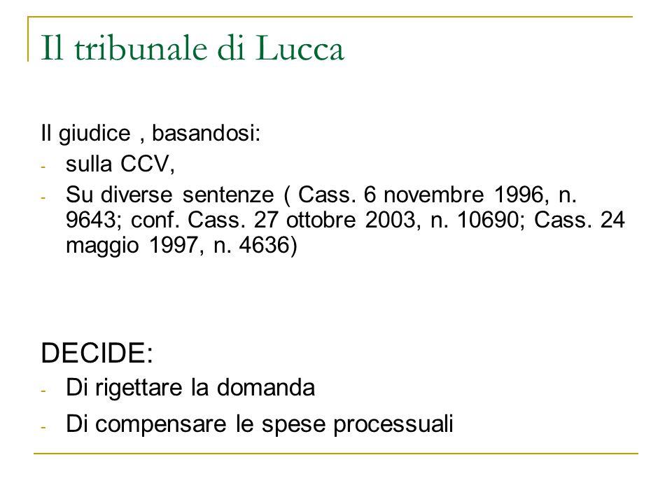 Il tribunale di Lucca DECIDE: Di rigettare la domanda