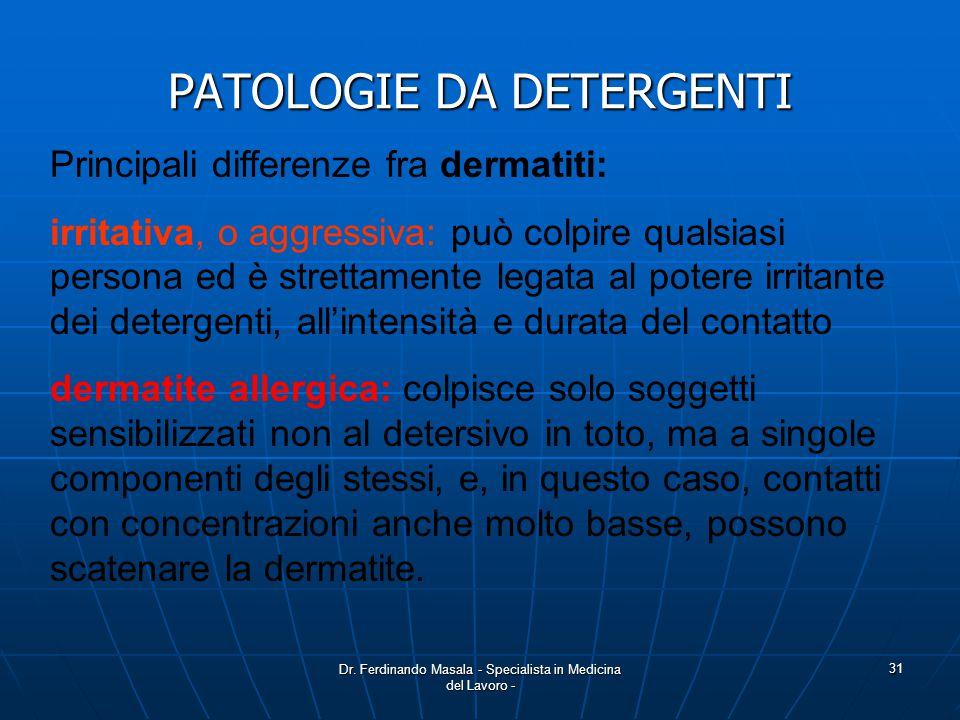 PATOLOGIE DA DETERGENTI
