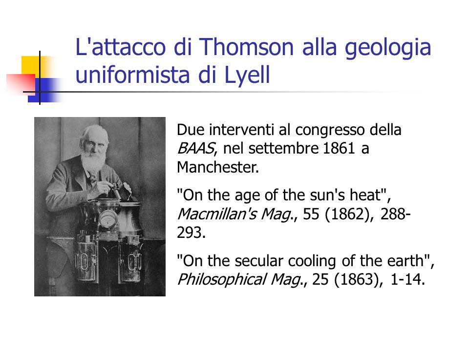 L attacco di Thomson alla geologia uniformista di Lyell