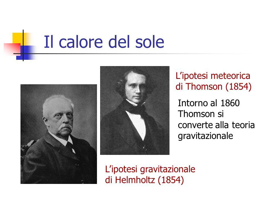 Il calore del sole L'ipotesi meteorica di Thomson (1854)