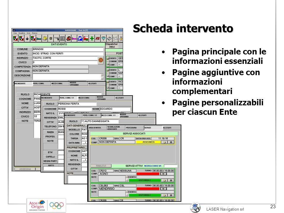 Scheda intervento Pagina principale con le informazioni essenziali