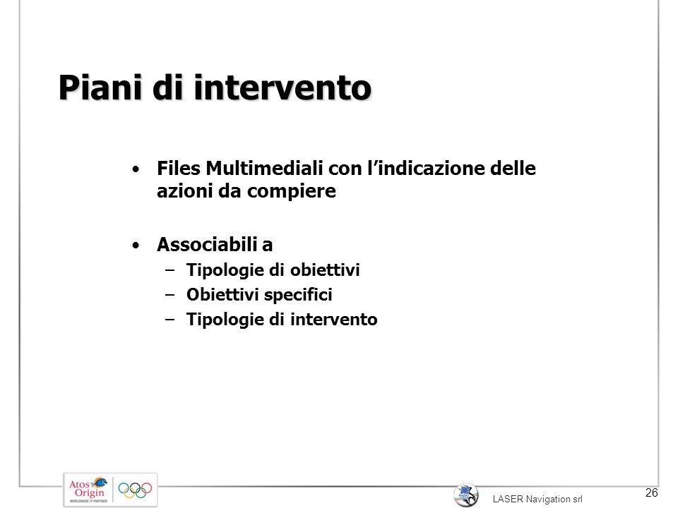 Piani di intervento Files Multimediali con l'indicazione delle azioni da compiere. Associabili a.