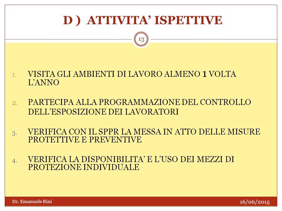 D ) ATTIVITA' ISPETTIVE