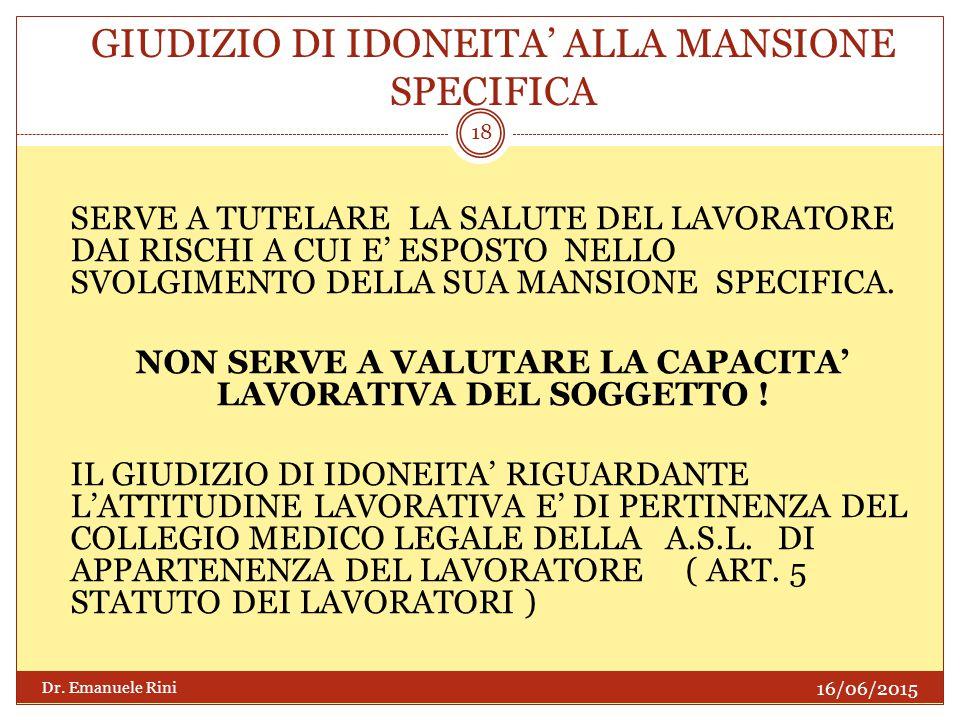 GIUDIZIO DI IDONEITA' ALLA MANSIONE SPECIFICA