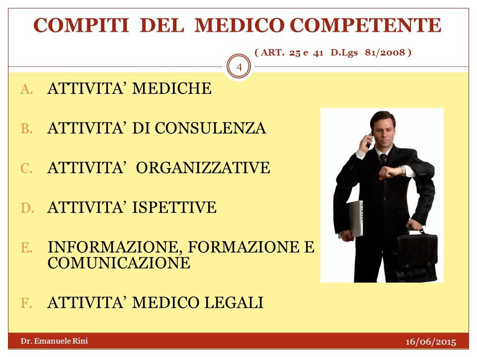 COMPITI DEL MEDICO COMPETENTE ( ART. 25 e 41 D.Lgs 81/2008 )