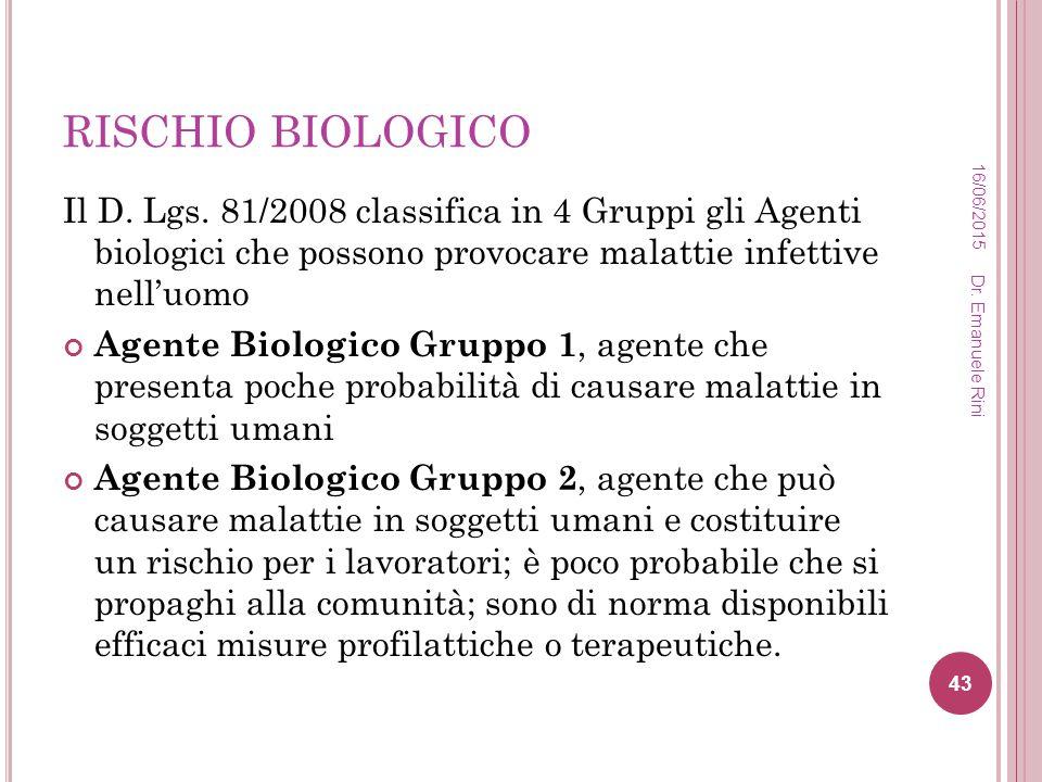 RISCHIO BIOLOGICO 16/04/2017. Il D. Lgs. 81/2008 classifica in 4 Gruppi gli Agenti biologici che possono provocare malattie infettive nell'uomo.
