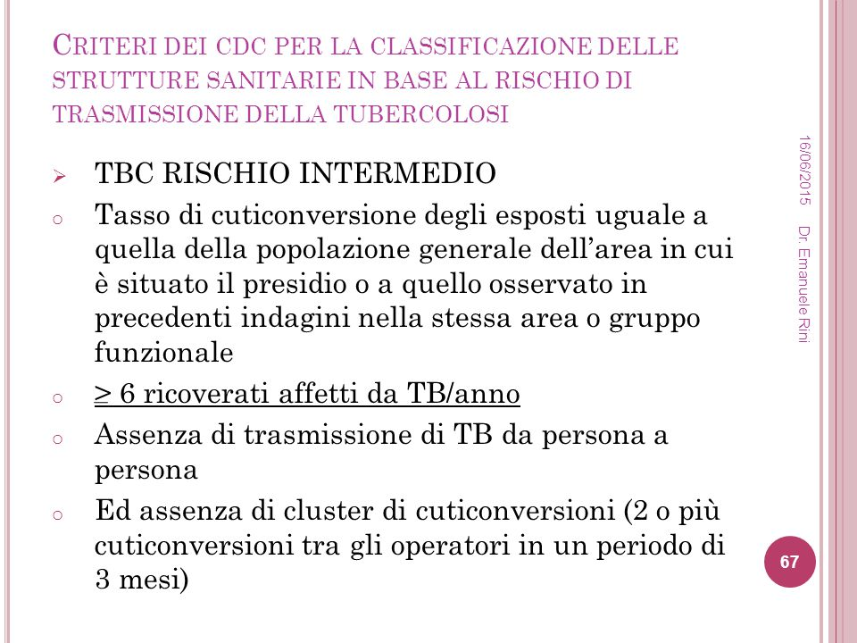 TBC RISCHIO INTERMEDIO