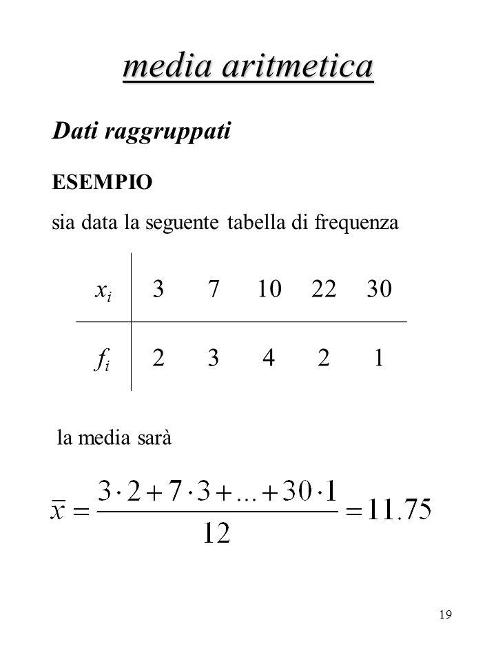 media aritmetica Dati raggruppati xi 3 7 10 22 30 fi 2 4 1 ESEMPIO