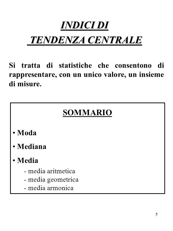 INDICI DI TENDENZA CENTRALE