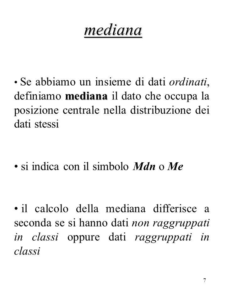 mediana si indica con il simbolo Mdn o Me