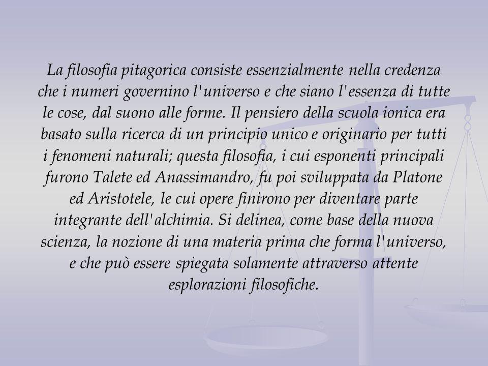 La filosofia pitagorica consiste essenzialmente nella credenza che i numeri governino l universo e che siano l essenza di tutte le cose, dal suono alle forme.