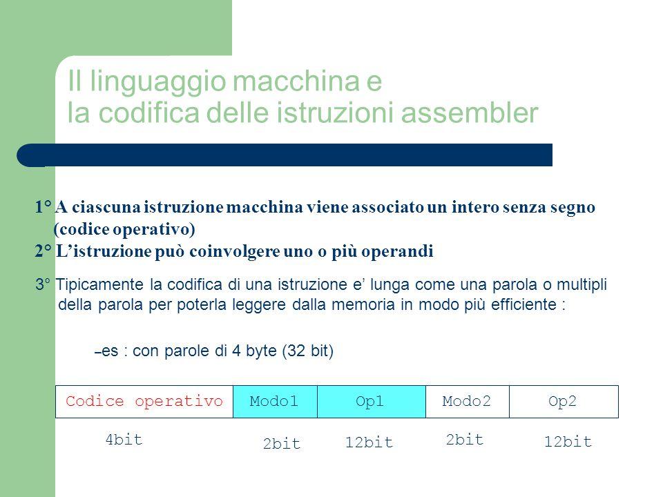 Il linguaggio macchina e la codifica delle istruzioni assembler