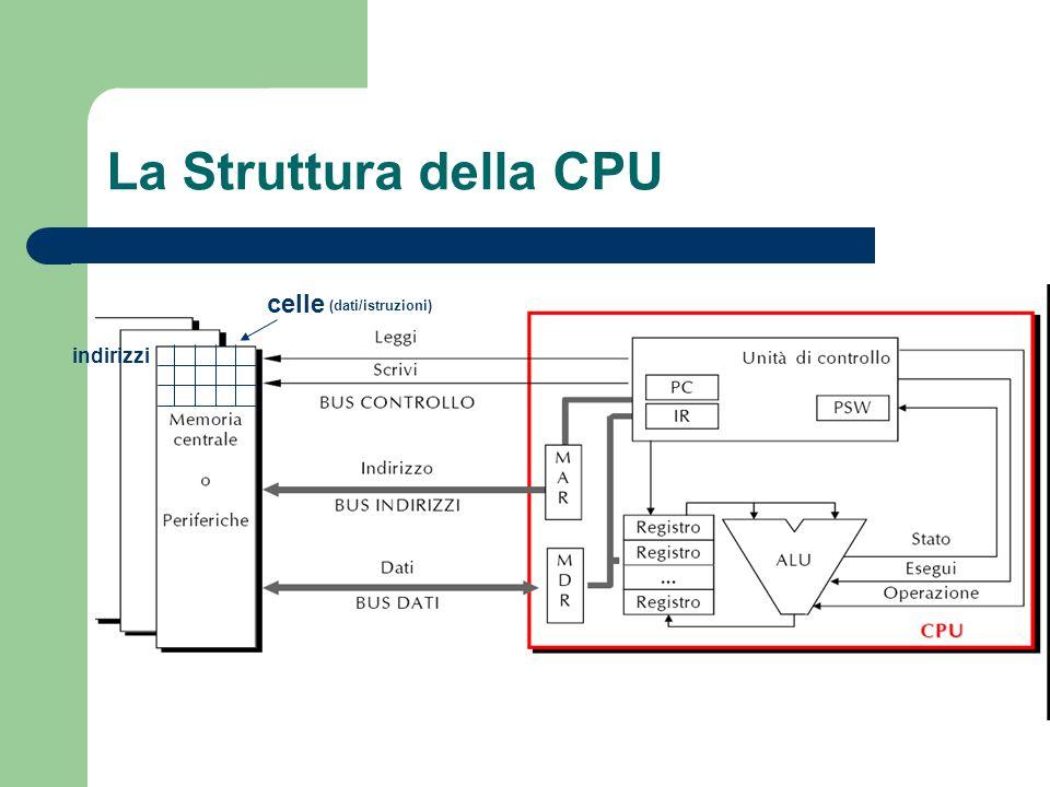 La Struttura della CPU celle (dati/istruzioni) indirizzi