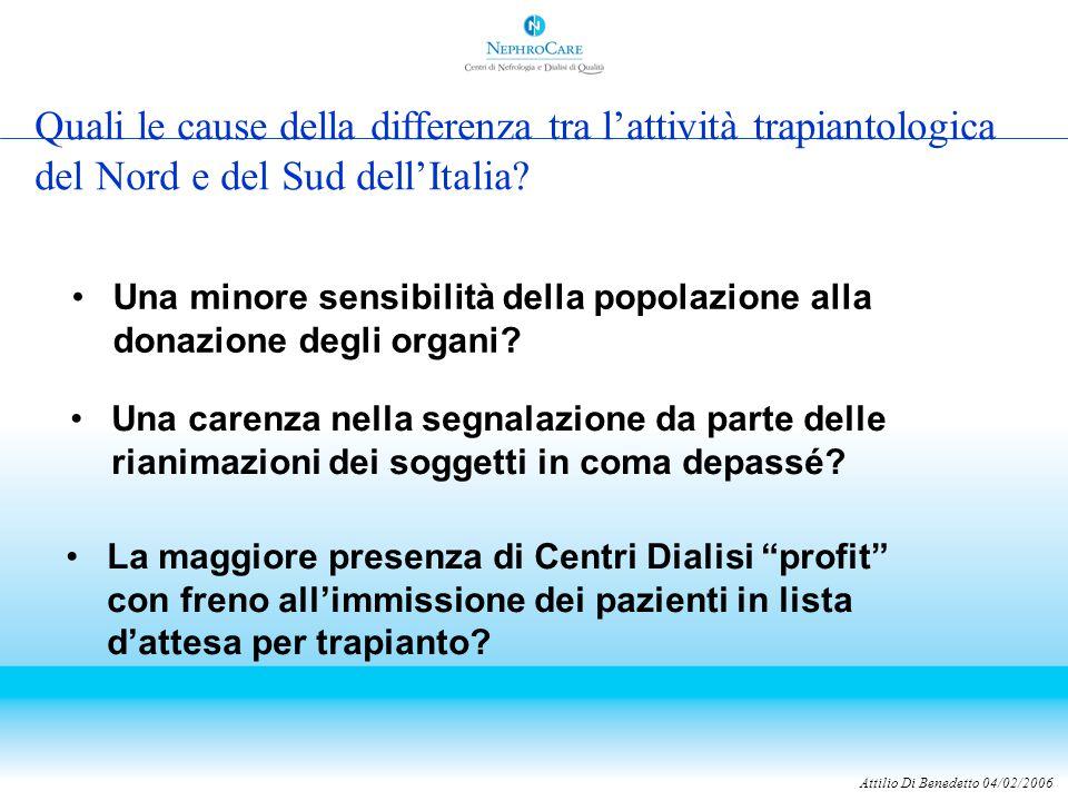 Quali le cause della differenza tra l'attività trapiantologica del Nord e del Sud dell'Italia