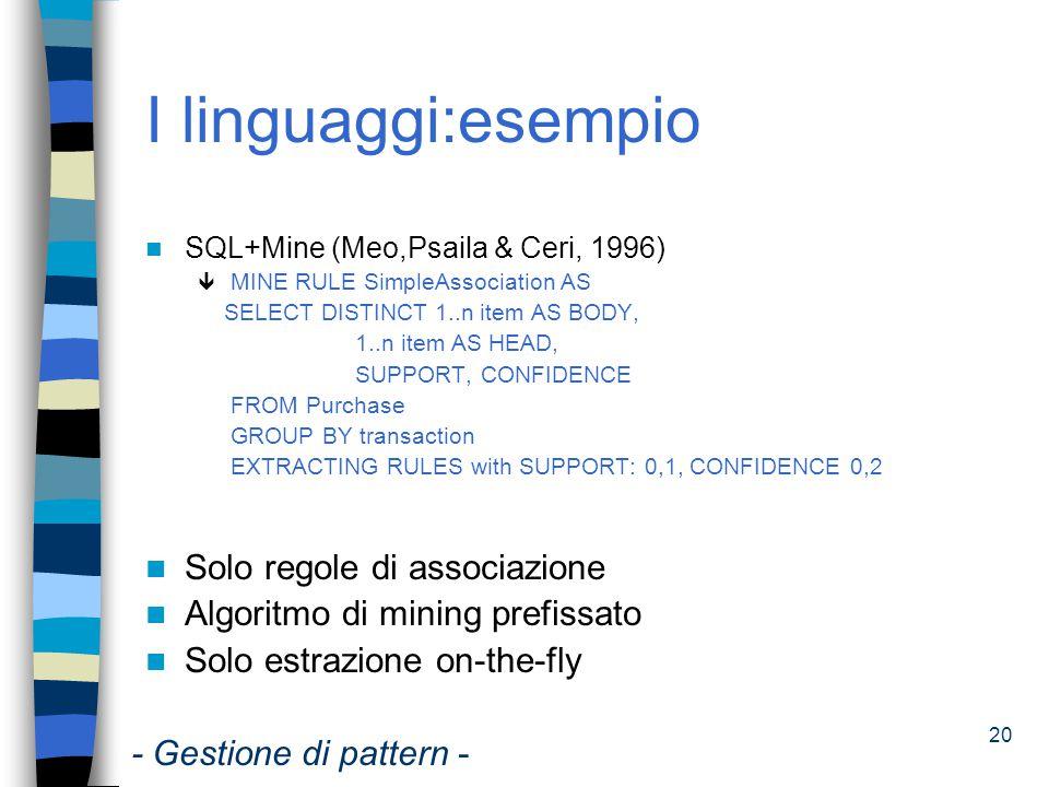 I linguaggi:esempio Solo regole di associazione