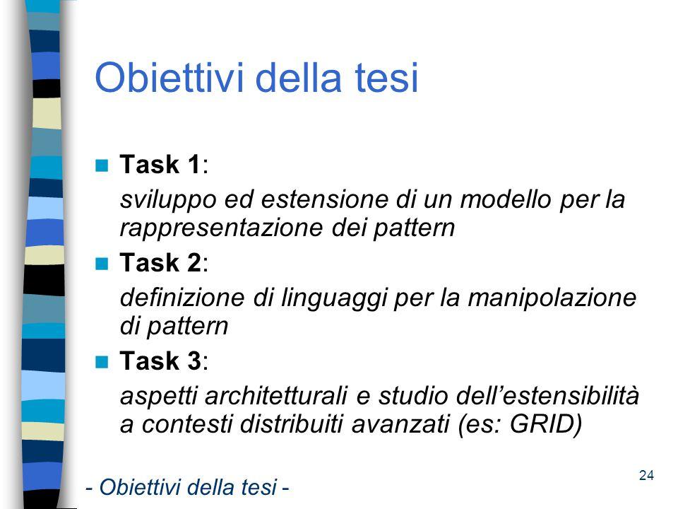 Obiettivi della tesi Task 1:
