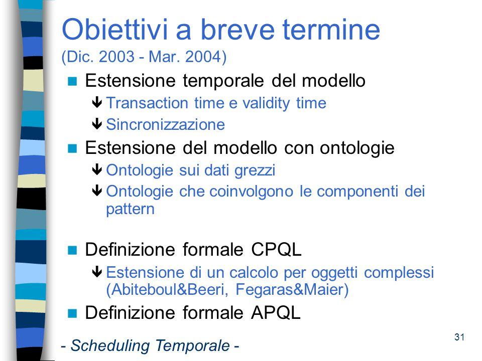 Obiettivi a breve termine (Dic. 2003 - Mar. 2004)