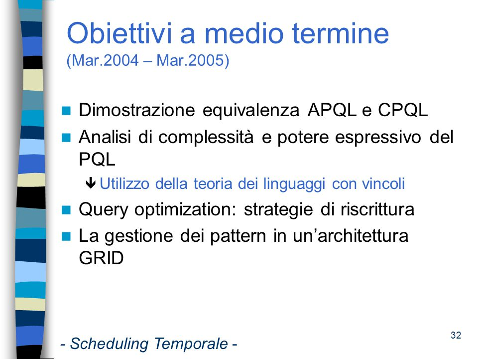 Obiettivi a medio termine (Mar.2004 – Mar.2005)
