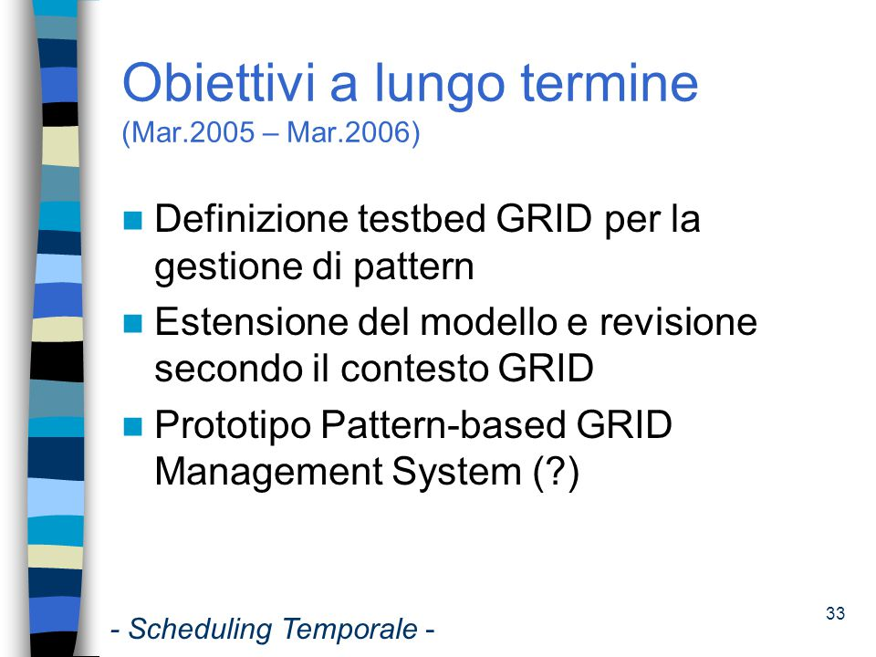 Obiettivi a lungo termine (Mar.2005 – Mar.2006)