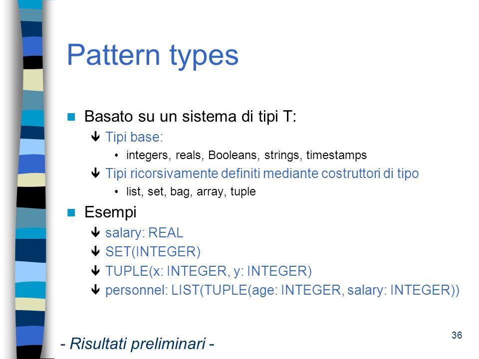 Pattern types Basato su un sistema di tipi T: Esempi