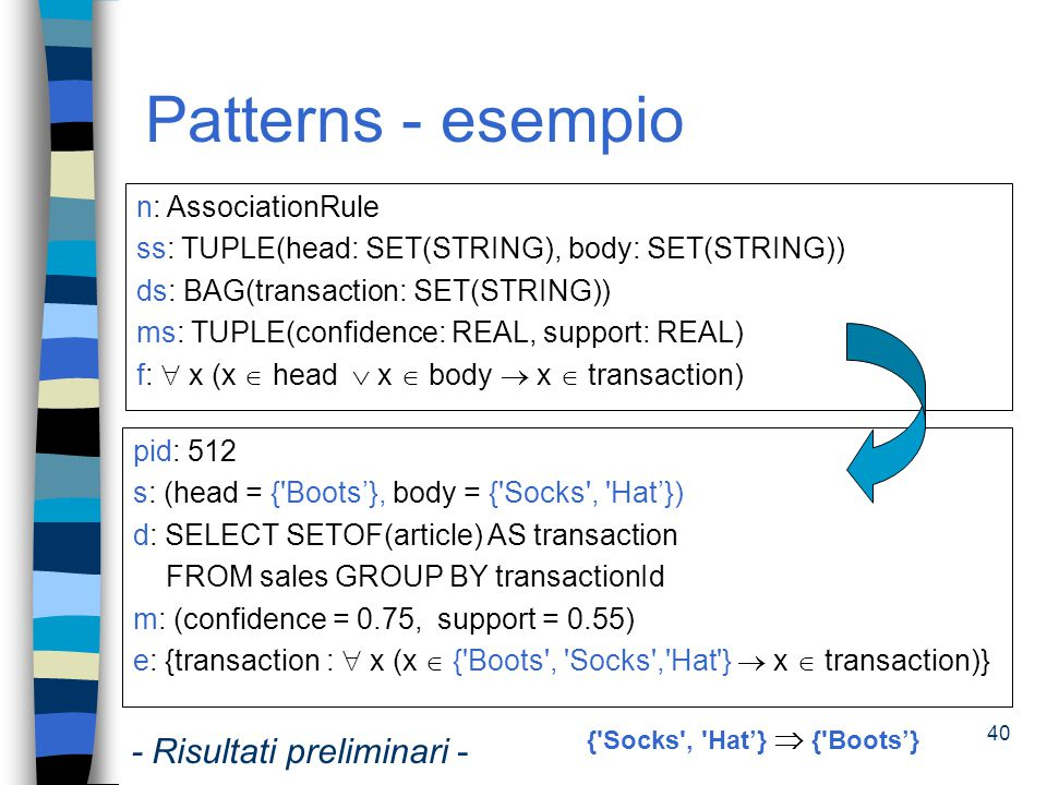 Patterns - esempio - Risultati preliminari - n: AssociationRule