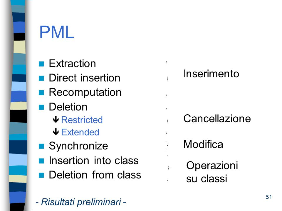 PML Extraction Direct insertion Inserimento Recomputation Deletion