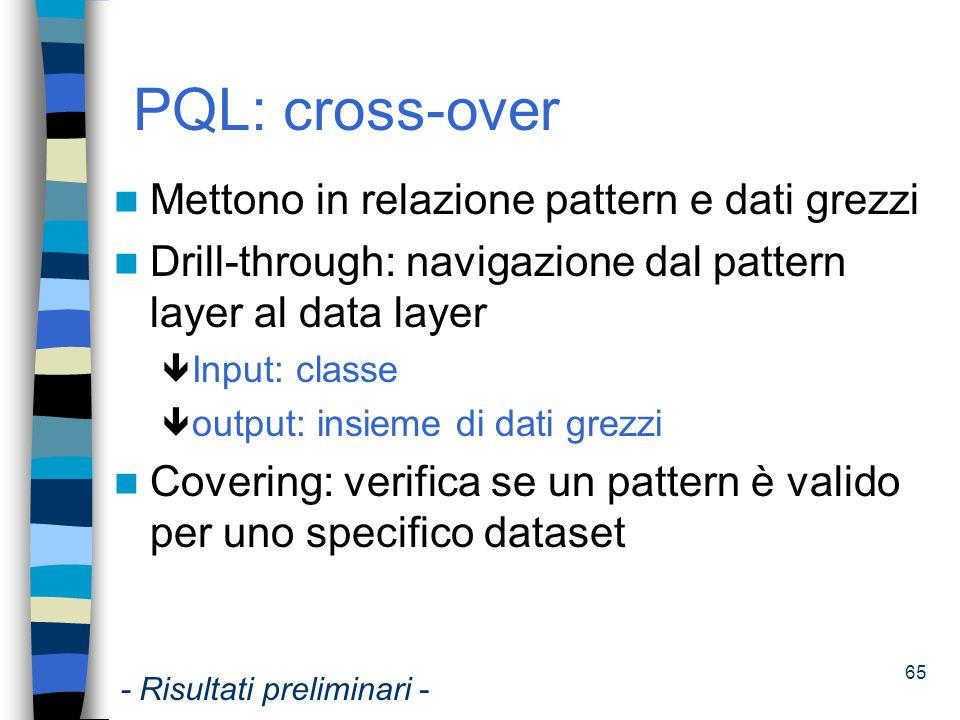 PQL: cross-over Mettono in relazione pattern e dati grezzi
