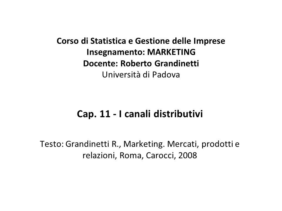 Cap. 11 - I canali distributivi