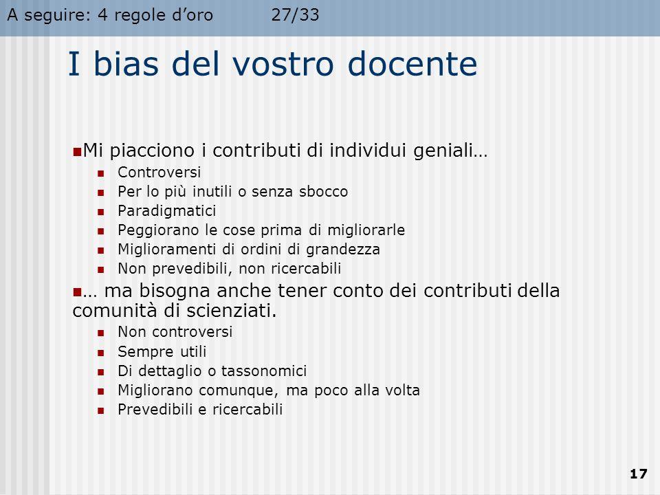I bias del vostro docente